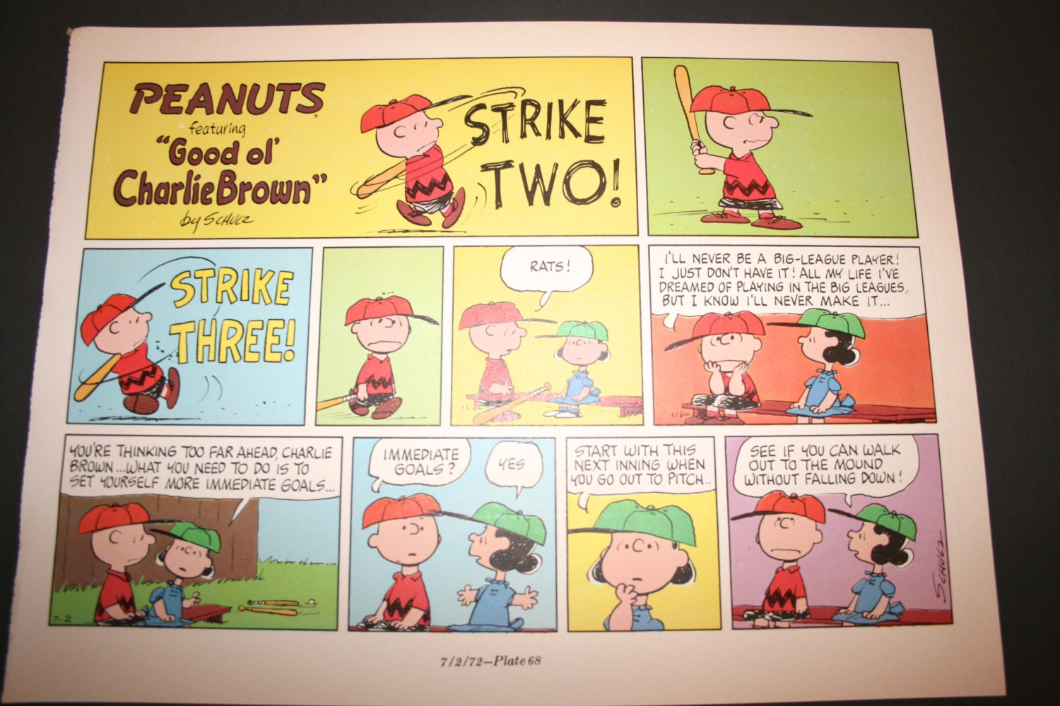 Charlie Brown comic Three strikes you\'re out Comic | Etsy