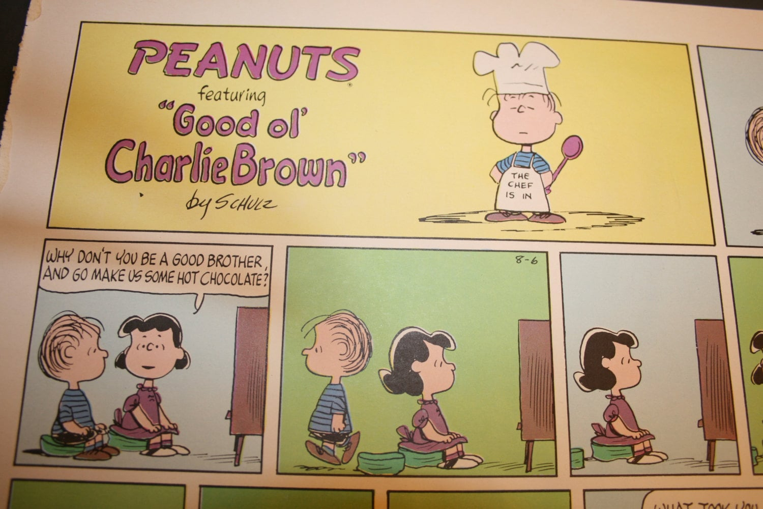 Chef Linus Charlie Brown Peanuts Comic Strip Retro Lucy | Etsy