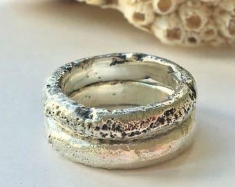 Chunky Sand Cast Ring Band Oxidised