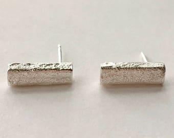 Recycled Sand Cast Bar Stud Earrings