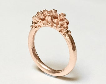 EOSTRE Rose Gold Lichen Engagement Stacking Ring