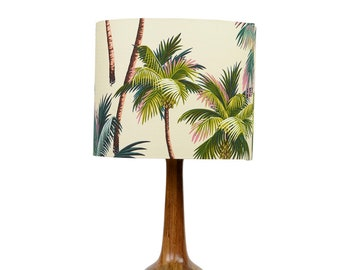 Tiare Lamp with Palm Trees on Natural Tropical Fabric Lampshade