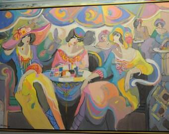 Acrylic on Canvas Original Unique Art Painting Signed by Isaac Maimon Le Paris Café