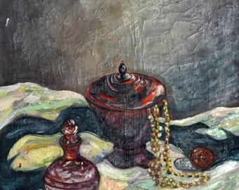 Oil on Canvas Painting Original Art by an Unidentified Artist- Still life, Unique Art
