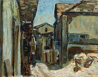 Oil on Canvas Original Signed Painting by Zvi Shor Small alley Unique Art