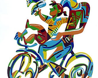 Original  Serigraph on Cutout Steel  Two Sides Painting by David Gerstein Abstract Father and Son Riding Bicycle