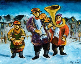 Oil on Canvas Original Signed Painting by Yosl Bergner Jewish Klezmer Jewish Art