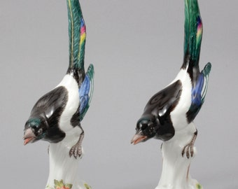 A Pair Of Meissen Porcelain Figures In The Form Of Magpies, C. 1910 & 1985