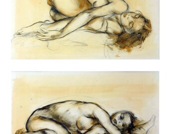 Sketch & Water Color on Paper Signed Painting by Liliane Danino Two Naked Sleeping Woman Unique Art
