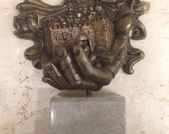 Bronze Sculpture Signed by Ari Harpaz Jerusalem in the Hand of God Unique Art