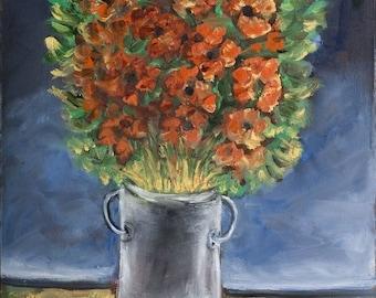 Oil on Canvas Original Signed Painting by Yosl Bergner Orange Flowers Judaica