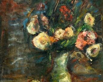 Oil on Canvas Original Art by an Unidentified Artist - Flowers, Unique Art