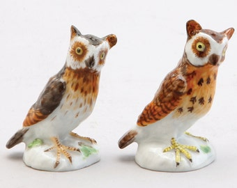 Two Meissen Porcelain Figures Of Owls, Comprising:  A. 1924-37, Incised Nos. 1020 And 115; 4.5 Cm High  B. 1980