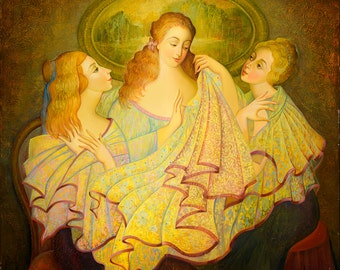 Oil on Canvas Original Signed Painting by Marina Grigoryan Three Women Unique Art