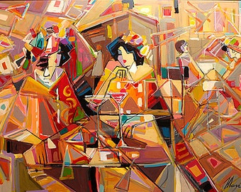 Acrylic on Canvas Original Unique Art Painting Signed by Isaac Maimon Rainbow Cocktail