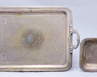 Norblin& Co. Silver Plated Tray and Antique Art-Deco Silver Square Plate