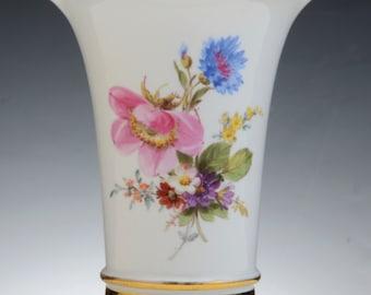 A Meissen Porcelain Vase Decorated With Flowers, C. 1890  Blue Crossed Swords Mark, Impressed No. 31, .  14 Cm High