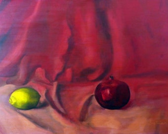Oil on Canvas Original Signed Painting by Yehuda Broitman Pomegranate and Lemon