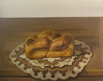 Oil on Canvas Original Art Painting Unique Artwork Signed by Daniel Sergio Morning Bread
