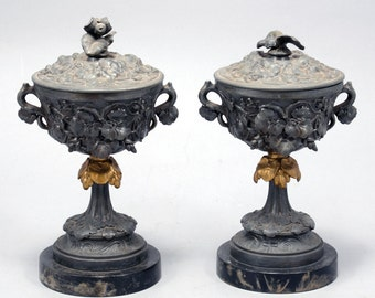 Pair of Antique Vintage Bronze Cups and Covers on a Marble Base