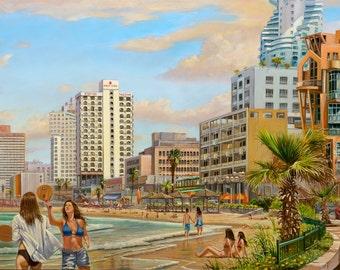 Oil on Canvas Original Art Painting Unique Artwork Signed by Alex Levin Tel Aviv