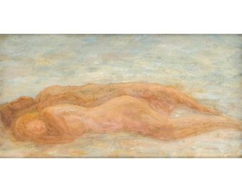 Oil on Paper Original Signed Painting by Titi Hason Naked Sleeping Unique Art
