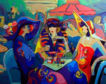 Acrylic on Canvas Original Unique Art Painting Signed by Isaac Maimon An Evening Out