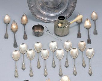 Antiques Silver, European marked Silver Teaspoons, Dishes and Bowl