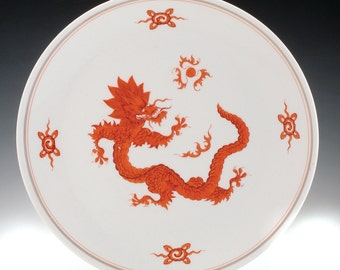 A Red Dragon Meissen Porcelain Plate, C.1920