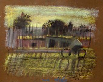 Original Pastel on Paper Signed Painting by Leonid Balaklav  Riding a Bicycle  Unique Art
