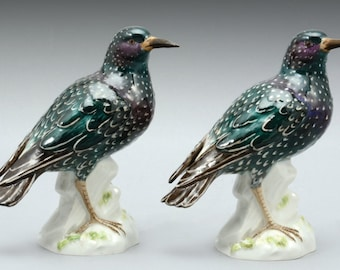 A Pair Of Meissen Porcelain Figures Of The Common Starling, Post 1950