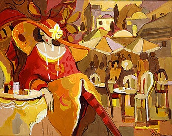 Acrylic on Canvas Original Unique Art Painting Signed by Isaac Maimon Sunset Thoughts