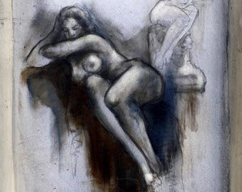 Sketch & Water Color on Paper Signed Painting by Liliane Danino Naked Woman Unique Art