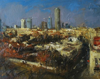 Oil on Canvas Original Signed Painting by Kim Tkatch Neve Tzedek Tel Aviv Israel View Unique Art