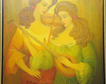 Oil on Canvas Original Signed Painting by Marina Grigoryan The Playing Sisters Unique Art