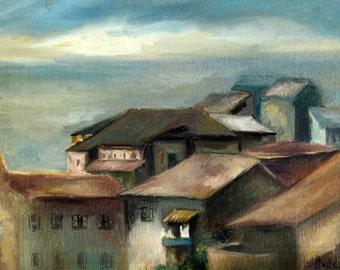 Oil on Canvas Original Signed Painting by Heddy Kun - Landscape, Unique Art