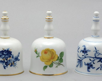 lot of 3 meissen porcelain bells decorated with magical flowers
