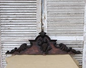 Antique Wooden Decorative Pediment Mount, Architectural Salvage French Hardware Decor, Rustic