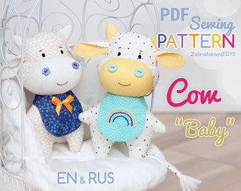 Cow sewing pattern PDF. Christmas stuffed baby toy