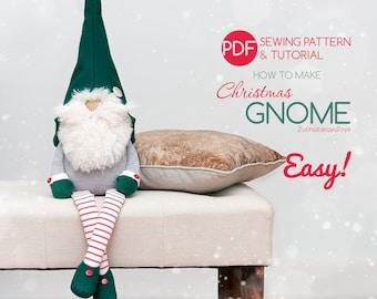 Christmas gnome pattern PDF, Tutorial DIY how to make a gnome, Scandinavian elf doll