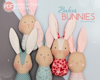 Bunny sewing pattern PDF | Easter bunnies, rag dolls for baby