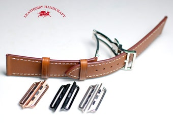 Single tour Apple watch Strap, Butterfly Deployant Clasp, deep Brown leather watch strap