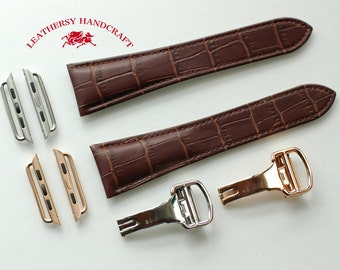 Brown Double tail Crocodile patterned Genuine Leather - Apple watch band / strap & Lugs for 38mm and 42mm watch strap