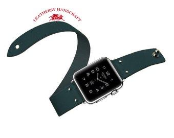 Double tour Apple watch Strap, Navy Blue Vegetable tanned leather watch strap bracelet in Minimalist & Zen style