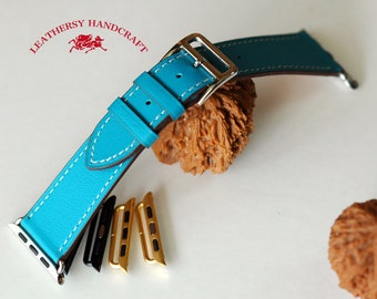 Single tour Apple watch Strap, Lake Blue leather watch strap, 4 Buckle and 8 lug colors option