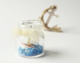 1:12 dollhouse miniature nautic scene in jar / scale one inch dollhouse boat miniature /  Miniature sea snowball scene / boat in a bottle
