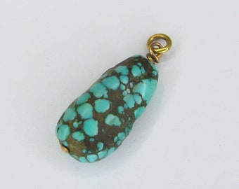 Antique Chinese Turquoise and 14ct Gold Nugget Charm