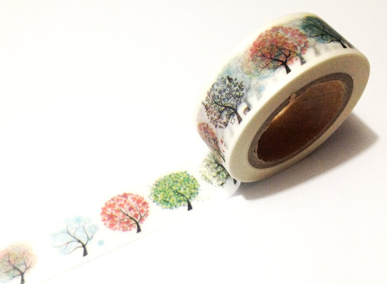 Japanese Washi Tape Rainbow Season Trees Nature 10METRE image 0