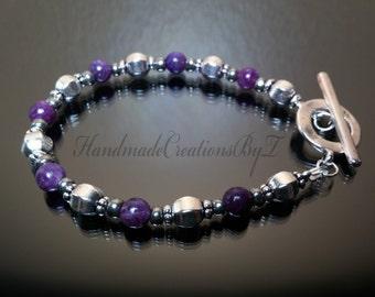 Gray Pink Grey Gemstone Jewelry Womens Unique Fashion Rose Quartz /& Silver Toggle Bracelet