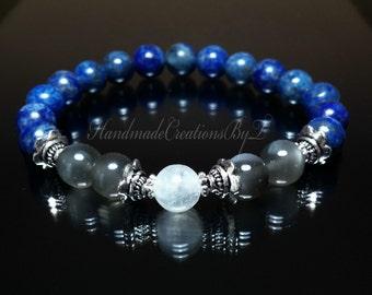Lapis Lazuli & Moonstone Gemstone Bracelet, Silver, Healing Chakra Jewelry, Womens